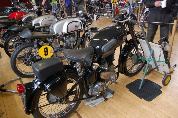 One of the more intriguing bikes on the display was this EMC 350 cc split single and yes, that is EMC as in Dr Joseph Ehrlich, creator of fine racing motorcycles , F3 cars and various other stuff. Mike Hailwood raced an EMC with some success in his early career.
