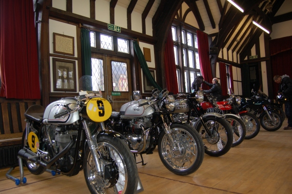 Wistanstow Village Hall is a beautiful old building gifted to the community by a local benefactor many years ago. Here's a handsome Manx and a Dommie in the indoor display. Note the twin bacon slicers on the Dommie front hub.