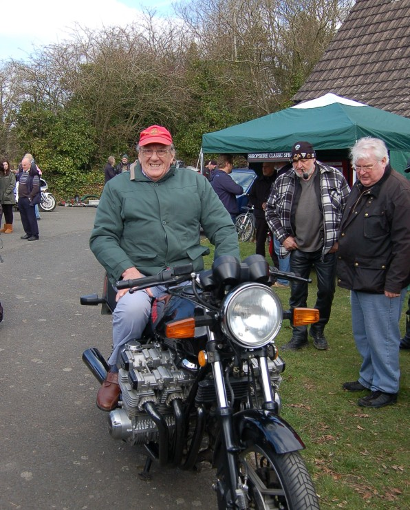 And finally a picture of Ron Maul the show's creator and organiser sat astride an unfeasibly wide six cylinder GS Suzuki, details of which I'm saving for a later blog.