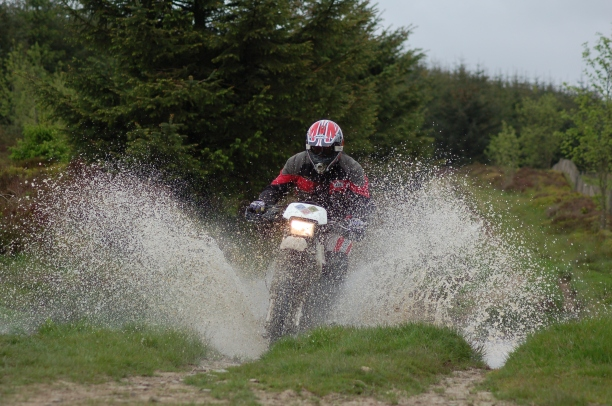 We also got a bit of riding in. Tony gets his boots wet...